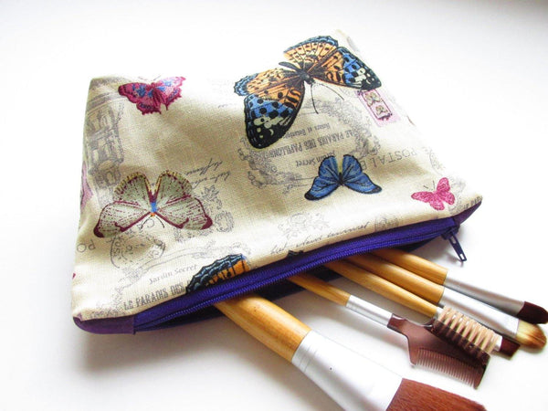 Butterfly shabby chic make up bag