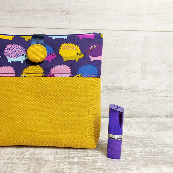 Hedgehog Pouch Bag in Mustard and Purple - Olganna