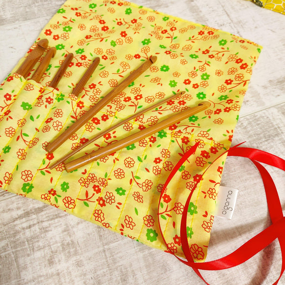 Yellow Floral Print Crochet Hook Case - Olganna