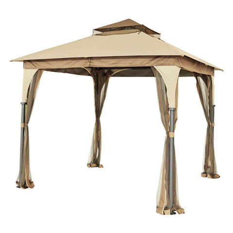 8 Ft X Steel Frame Gazebo With Beige Brown Canopy And Mosquito