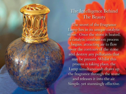 The Intelligence Behind the Beauty - The secret of the fragrance lamp lies inits unique catalytic stone. Once the stone is heated a catalytic combustion process begins, attracting air to flow over the contours of the stone and destroy any pollutants that may be present. Whilst this process is taking place the lamp simultaneously draws up the fragrance through the stone and releases it into the air. Simple, yet stunningly effective.