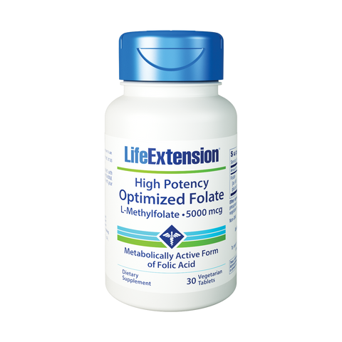 Life Extension-High Potency Optimized Folate  5000 mcg, 30 vegetarian tablets - Alkaline for Life