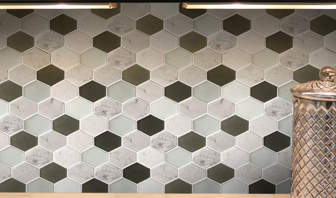 Bedrosian Panache Retro Hexagon Pattern White Marble & Glass Mosaic Tile Kitchen & Bathroom Backsplash