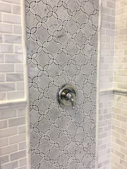 Carrara White and Bardiglio Grey Marble Waterjet Mosaic Tile in Petal Blossoms