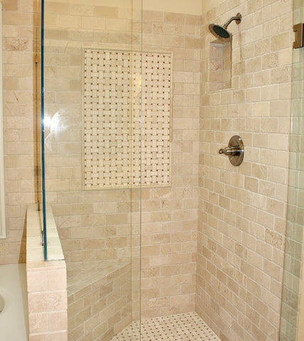 Crema Marfil Master Bathroom Shower Tile Brown Natural Stone Subway Tile Basketweave mosaic pencil rail molding