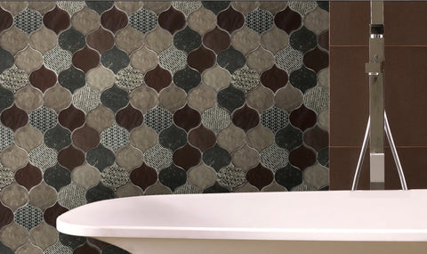 Bedrosian Panache Rain Drop Pattern Mosaic Sheet Tile Velvet Backsplash