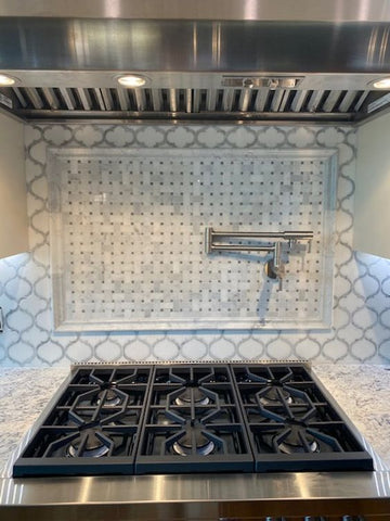 Basketweave Mosaic Feature and Arabesque Tile Oven Backsplash