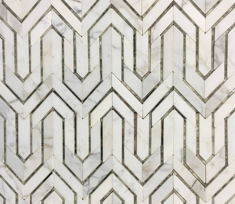 Arrow pattern mosaic tile in Carrara marble & mirror glass