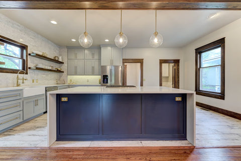 Navy Blue Kitchen Island with Waterfall Quartz