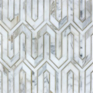 CALACATTA GOLD MARBLE AND GOLD METAL WATERJET MOSAIC TILE IN GREEK KEY MEANDROS