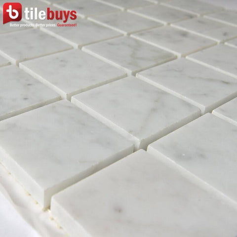 "Carrara White Marble Mosaic Tile in 2"" Squares"