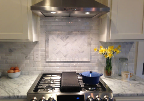 Framed Herringbone Tile Oven Backsplash Feature
