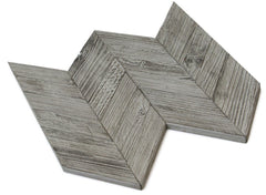 WEATHERED GRAY RECLAIMED TEAK WOOD MOSAIC WALL TILE - CHEVRON PATTERN