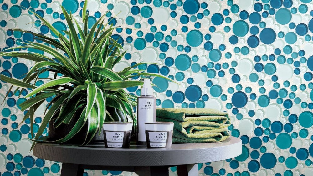 4 Coastal Glass Tiles in Bubble Rounds Pattern - Blue + Green