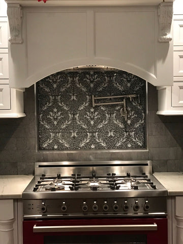 Damask Mosaic Tile Stove Backsplash