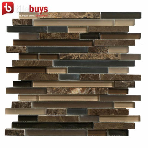 DARK BROWN, BEIGE & GRAY MARBLE & GLASS LINEAR STRIP MOSAIC WALL TILE
