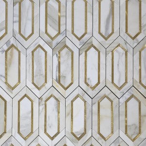 CALACATTA (CALCUTTA) GOLD MARBLE WITH GOLD METAL WATERJET MOSAIC TILE IN ELONGATED HEXAGONS
