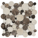 emperador-dark-marble-mosaic-tile-in-mixed-rounds-pattern