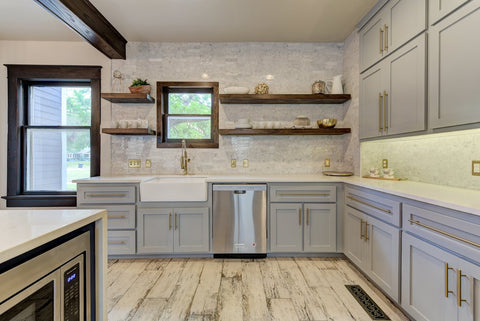 Modern Farmhouse Kitchen with Light Gray Cabinets