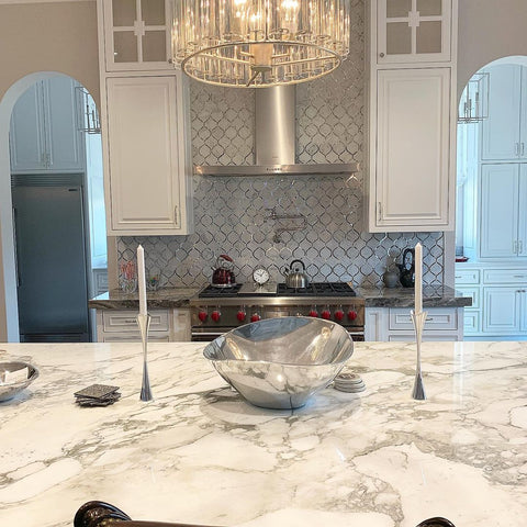 Luxe Kitchen with Mirror Accent Arabesque Tile Oven Backsplash