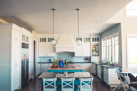 Turquoise Squares Mosaic Tile Feature over Stove