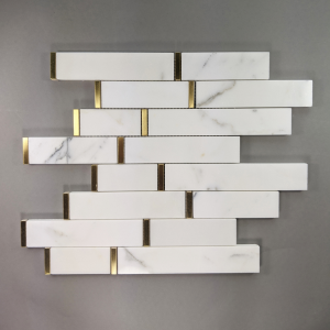 Calacatta Gold Marble Skinny Tile Backsplash with Gold Accent