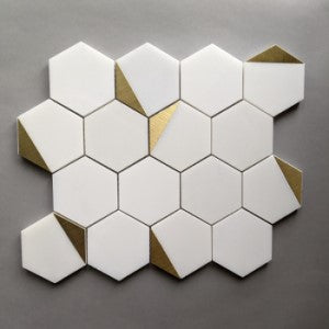 Royal White Marble Hexagon Tile with Gold Trim