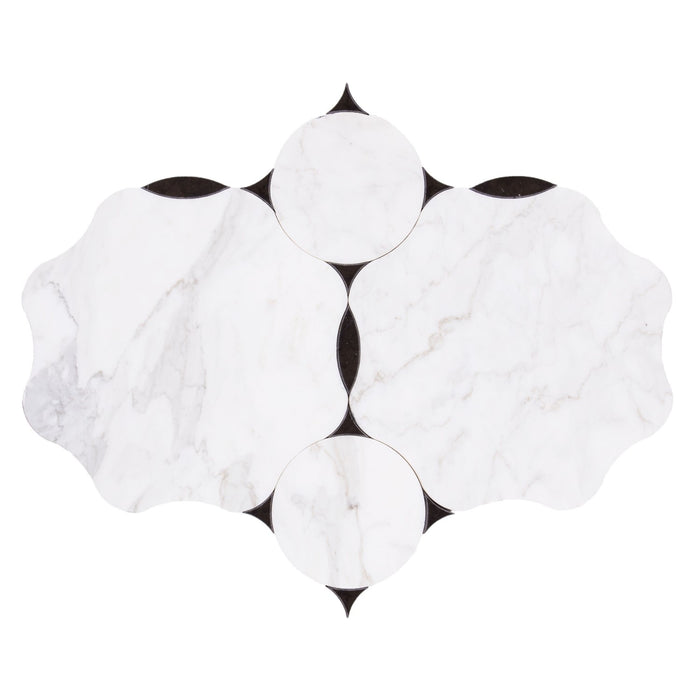 Parametric Marble Waterjet Tile in Calacatta, Carrara, or Dolomite with Black or Grey Accents