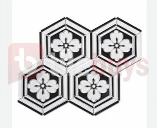 Crystal Glass Flower Hexagon Waterjet Mosaic Tile