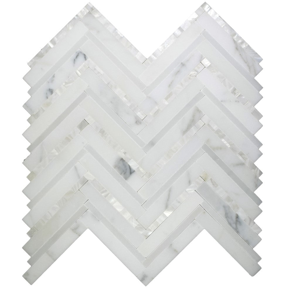 Calacatta (Calcutta) Marble and Mother of Pearl Waterjet Mosaic Tile in Deluxe Herringbone