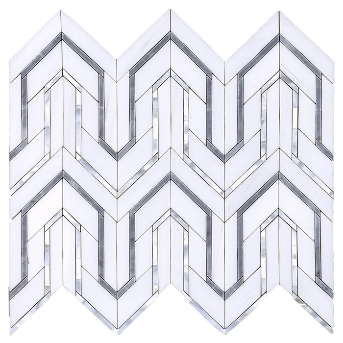 Dolomite and Gray Marble with Mother of Pearl Waterjet Mosaic Tile in Greek Key Meandros