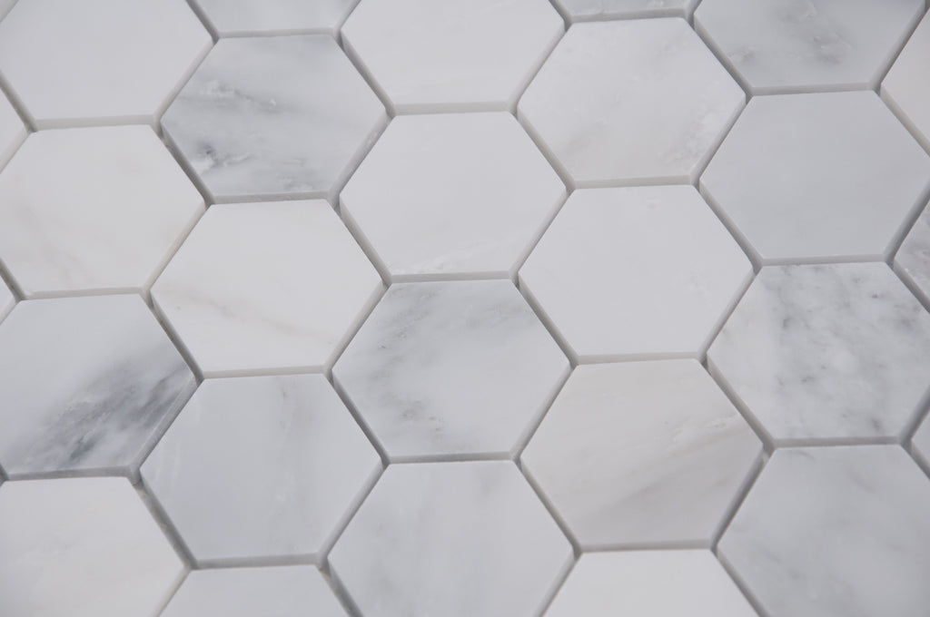 "Carrara (Carrera) Venato Marble Mosaic Tile - 2"" Hexagons - Polished or Honed - TileBuys"