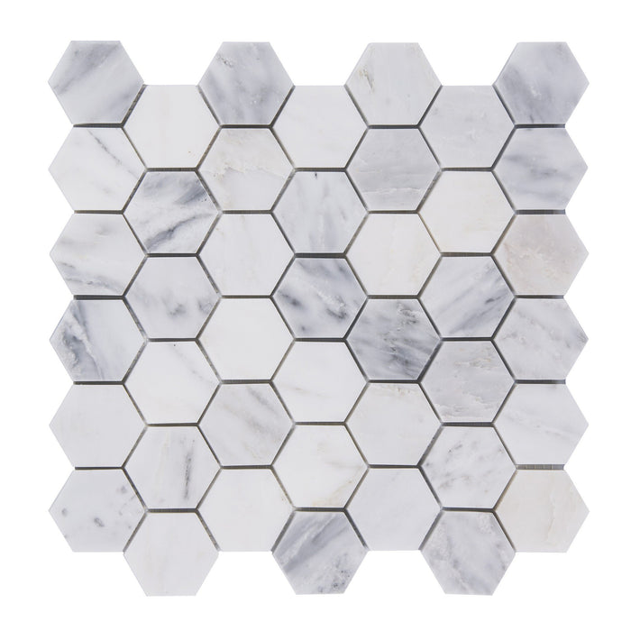 "Carrara Venato White Marble 2"" Hexagon Mosaic Tile Polished - TileBuys"