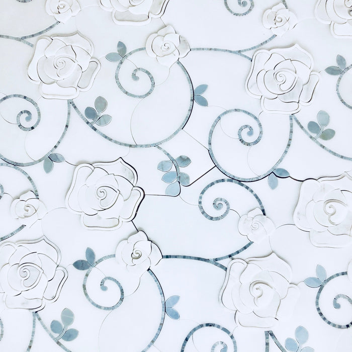 3D Rose Limited Edition Marble Luxury Waterjet Mosaic Tile - TileBuys