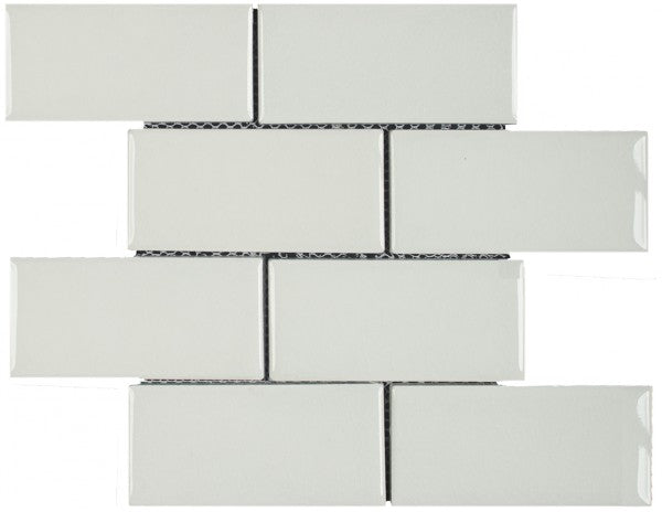 "Ceramic 3""x6"" Brick Mosaic Tile in White or Crackle White"