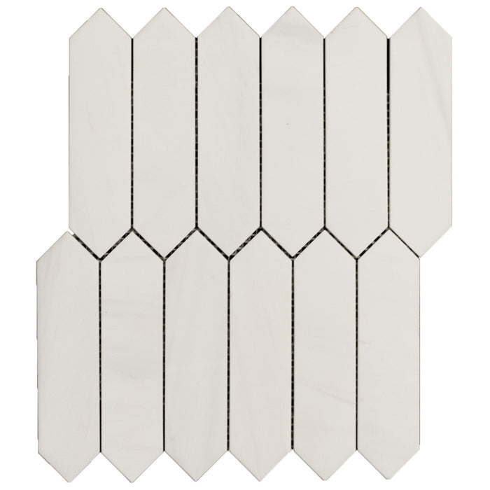 Dolomite Mosaic Tile - Elongated Hexagons (Picket) - Polished