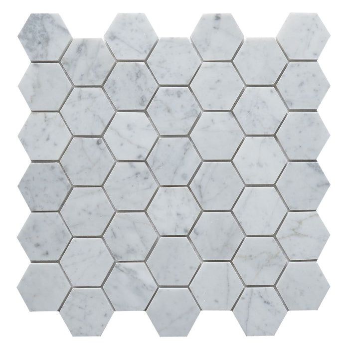"Carrara White Marble Hexagon 2"" Mosaic Honed"