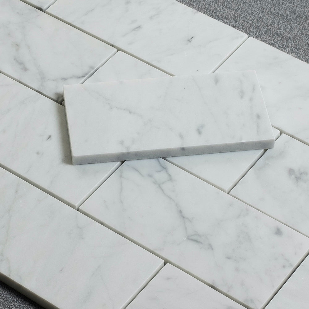 Carrara Prima Marble Wall and Floor Field Tile in Various Sizes and Finishes - Tile Buys