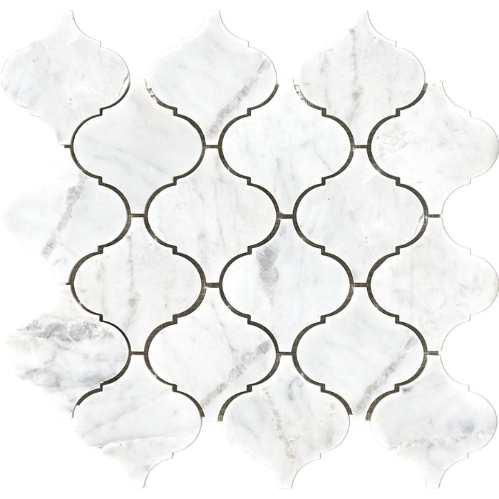 "Carrara White Marble Mosaic Tile in 2.5"" Moroccan Arabesque Lanterns Pattern - Polished"