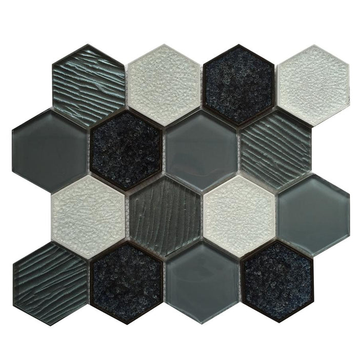 "Gray Glass & Porcelain 3"" Hexagon Mosaic Tile"