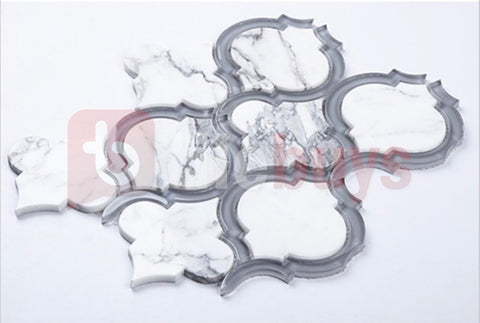 Statuario Marble Grey Glass Arabesque Marrakech Water jet Mosaic
