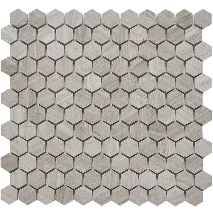 "Silver Oak Marble Mosaic Tile - Polished 1"" Hexagons - Tile Buys"