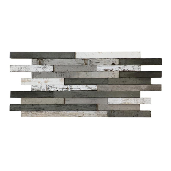 Antique Teak Wood Random Strip Mosaic Wall Tile - Linear Strip Reclaimed Gray & White Wood Panel Mosaic - TileBuys