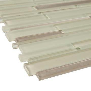 Beige Artisan Glass Simple Strip Mosaic Tile in Sioux Falls - TileBuys