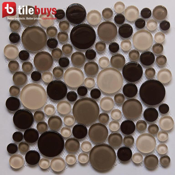 Beige & Brown Glass Mosaic Penny Circle Round Tile - TileBuys
