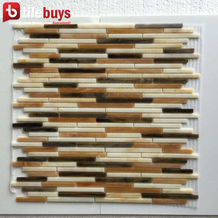 Beige & Brown Glass Thin Linear Strip Mosaic Wall Tile - TileBuys