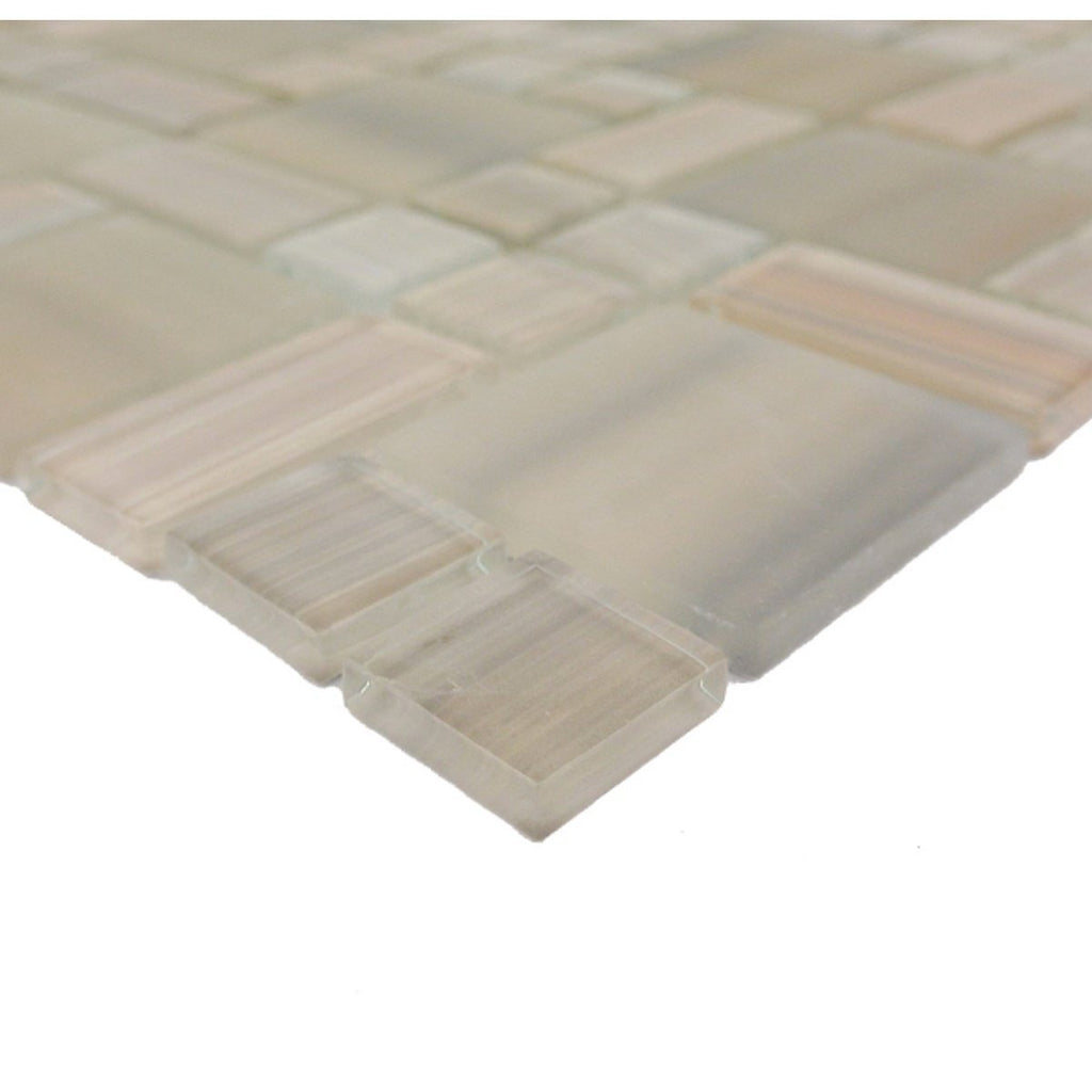 Beige Glass Mosaic Tile - Multi-Size Squares and Rectangles - TileBuys