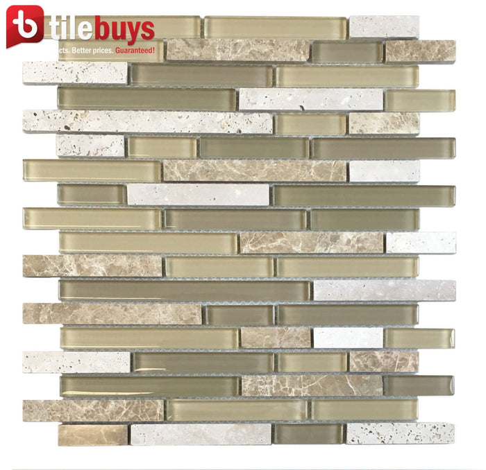 Beige Marble & Glass Strip Mosaic Tile in Dune - TileBuys