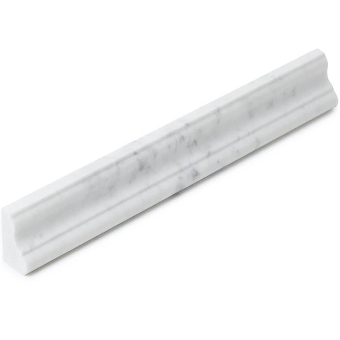 "Bianco Carrara Marble 2x12"" Crown Molding Trim - Polished - TileBuys"