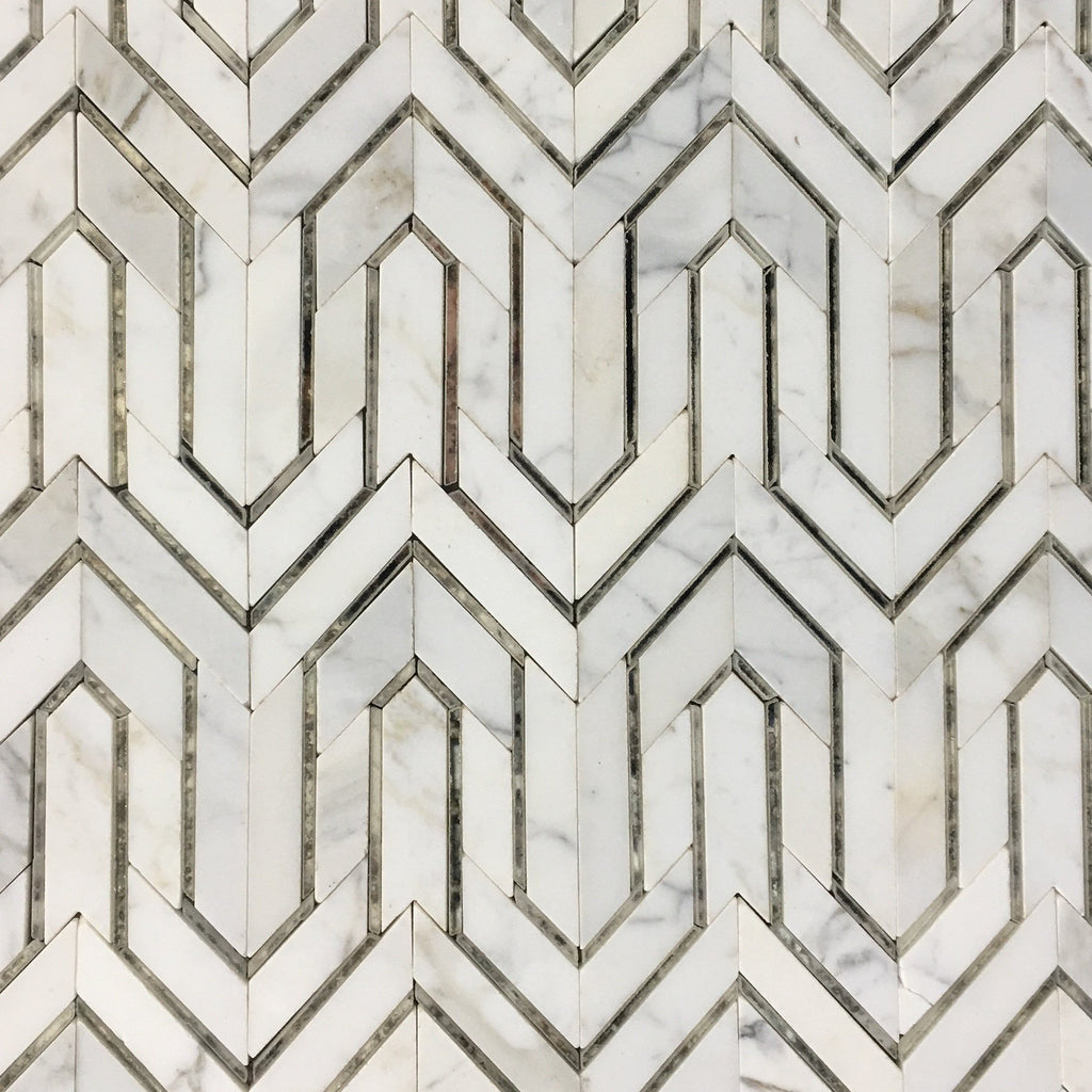 Bianco Carrara Marble and Antique Mirror Glass Waterjet Mosaic Tile in Greek Key Meandros - TileBuys
